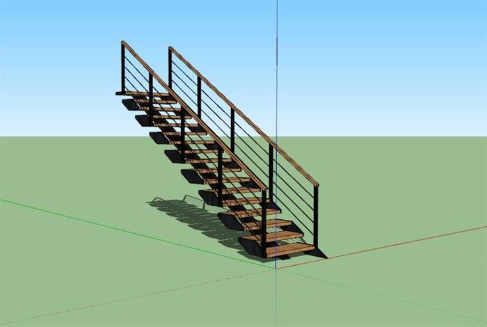 现代创意钢木连续造型楼梯(2)