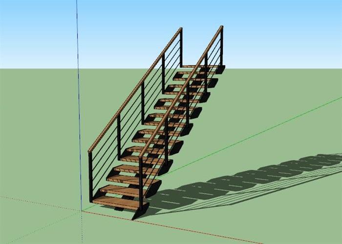 现代创意钢木连续造型楼梯(1)
