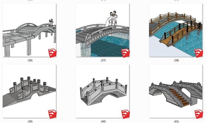 24款中式景观桥石桥木桥(3)