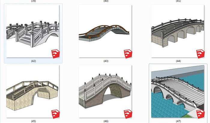24款中式景观桥石桥木桥(4)