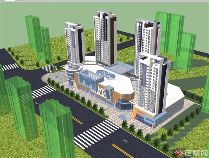 某现代详细的完整商业住宅楼su模型