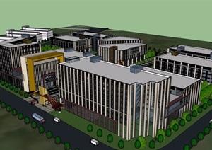某现代风格园区办公多栋建筑楼设计SU(草图大师)模型