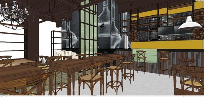 小型欧式咖啡厅室内设计SU模型(2)