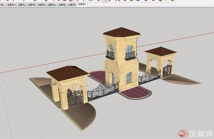 某欧式风格详细的完整大门设计su模型
