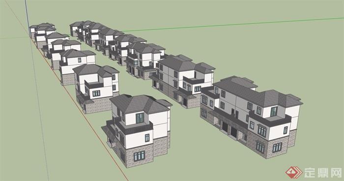 欧式独栋、双拼住宅别墅建筑设计su模型