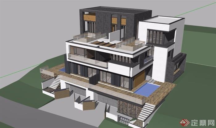 现代风格双拼住宅别墅设计su模型