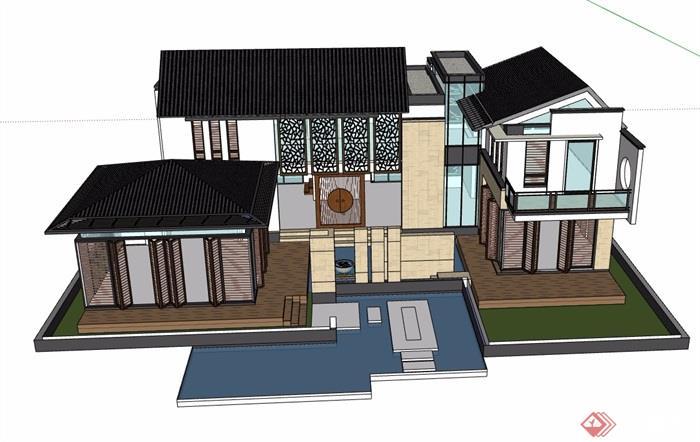 中式别墅详细完整建筑设计su模型