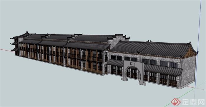 古典中式风格详细的多层商业楼建筑设计su模型