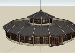 古典中式风格餐饮餐厅建筑设计SU(草图大师)模型