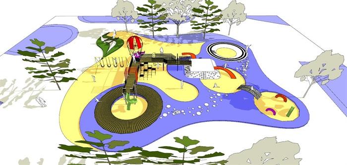 现代创意彩色儿童乐园儿童游乐园儿童活动场(2)