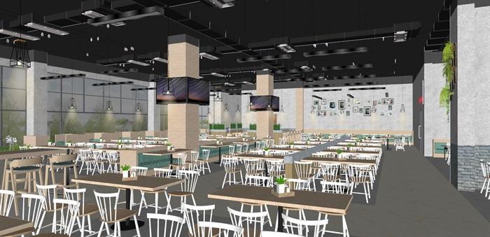 现代员工食堂饭堂学校食堂室内设计(3)