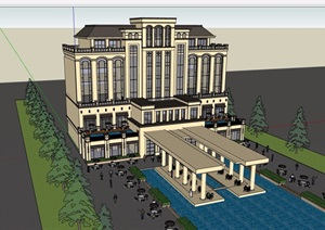 歐式風格詳細的酒店建筑設計SU(草圖大師)模型