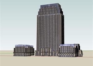 某现代风格详细的酒店大厦建筑设计SU(草图大师)模型