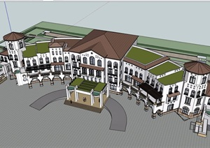 西班牙風格詳細的多層酒店設計SU(草圖大師)模型