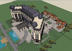 歐式風格詳細的整體星級酒店設計SU(草圖大師)模型