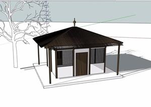 两个不同的中式亭子素材设计SU(草图大师)模型