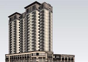 某详细的完整商业住宅建筑楼设计SU(草图大师)模型