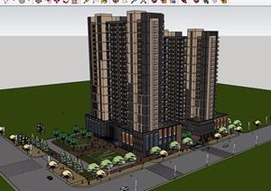 现代风格详细的完整商业住宅楼设计SU(草图大师)模型