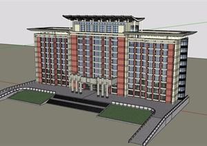 现代详细完整的星级酒店建筑楼设计SU(草图大师)模型