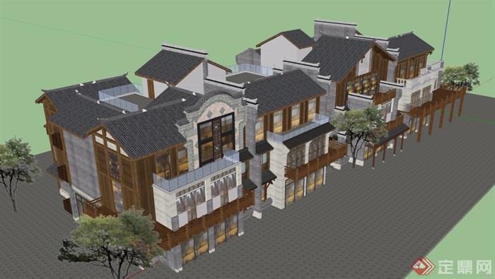 古典中式风格详细的商业中心建筑设计su模型