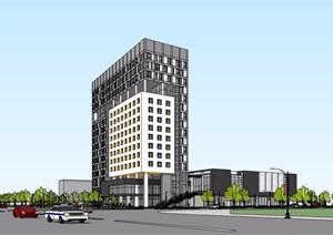 某现代风格高层酒店建筑楼设计SU(草图大师)模型