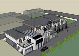古典中式风格详细的酒店设计SU(草图大师)模型