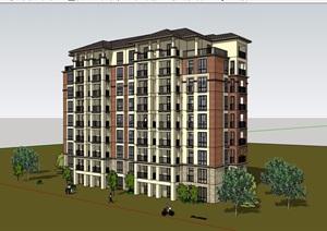 多层住宅洋房建筑设计SU(草图大师)模型