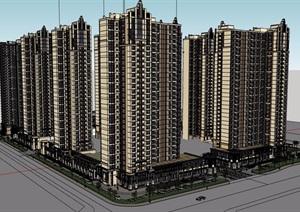 某新古典风格详细的小区住宅建筑楼设计SU(草图大师)模型