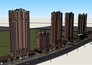 新古典风格详细的商业住宅楼设计SU(草图大师)模型