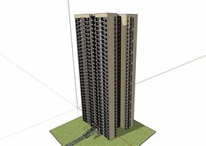 现代风格详细的完整高层住宅建筑楼设计SU(草图大师)模型