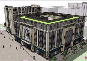 一个小型办公+商业建筑设计SU(草图大师)模型