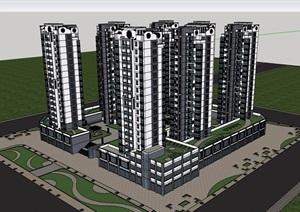 新中式商业住宅小区建筑楼设计SU(草图大师)模型