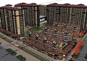 西班牙风格小区住宅建筑楼设计SU(草图大师)模型