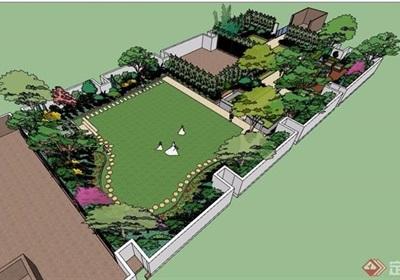 屋顶花园详细完整设计su模型