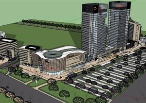 现代风格详细的完整商业办公楼建筑设计SU(草图大师)模型