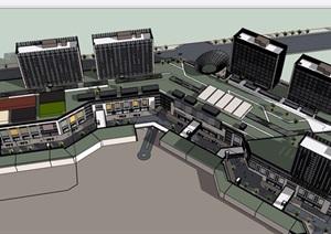 某现代风格商业中心办公建筑设计SU(草图大师)模型