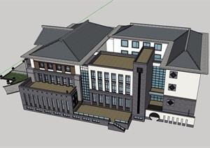 三層詳細的古典中式酒店建筑設計SU(草圖大師)模型