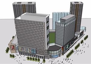 某现代完整的详细商业办公建筑楼设计SU(草图大师)模型