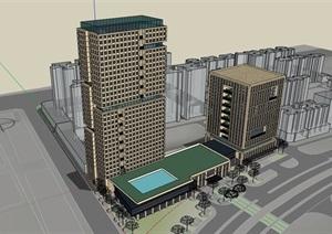 某详细的完整商业办公建筑楼设计SU(草图大师)模型