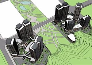 现代风格详细的完整商业办公楼设计SU(草图大师)模型