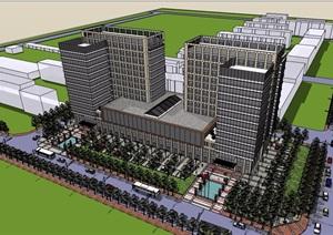 现代详细的商业办公完整建筑楼设计SU(草图大师)模型