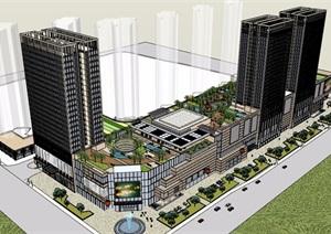 某详细的商业办公完整建筑设计SU(草图大师)模型