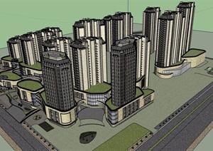 某简欧风格详细的商业住宅综合体建筑设计SU(草图大师)模型