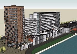 现代风格住宅+商业街建筑设计SU(草图大师)模型