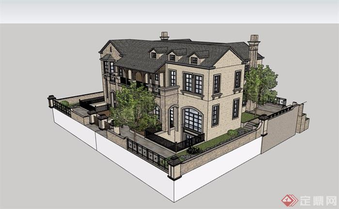 欧式风格详细的完整双拼住宅别墅设计su模型