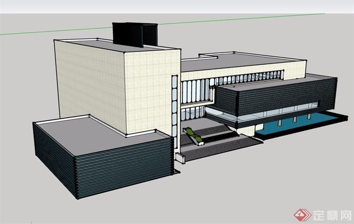 某现代风格详细的多层文化馆建筑设计su模型