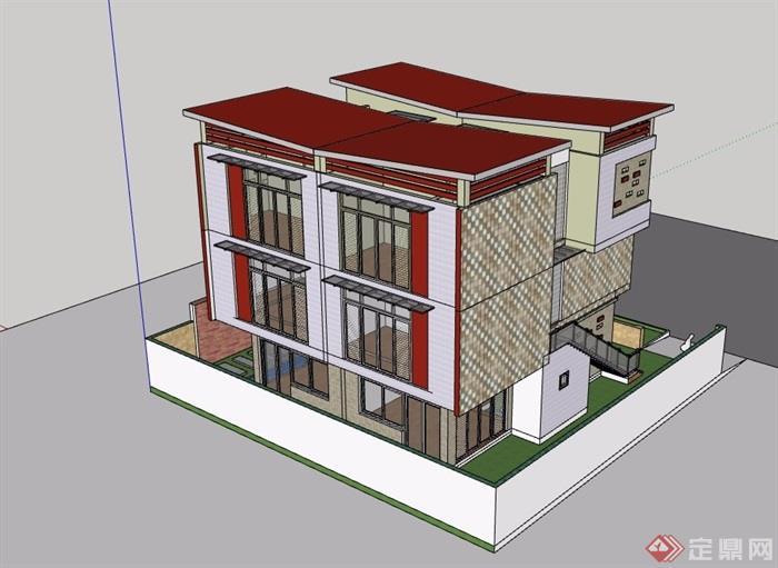 现代独特双拼住宅别墅建筑su模型