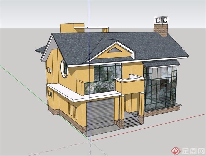 详细的完整的欧式风格别墅设计su模型