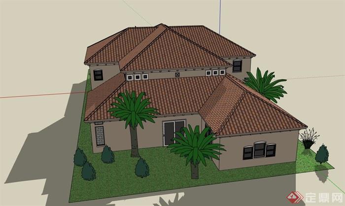 两层欧式风格详细的私人别墅su模型