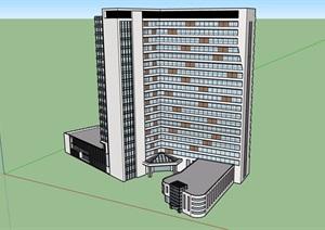 现代独特详细的办公楼建筑SU(草图大师)模型